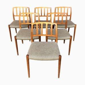 Model 83 Teak Chairs by Niels O. Møller, 1950s, Set of 6