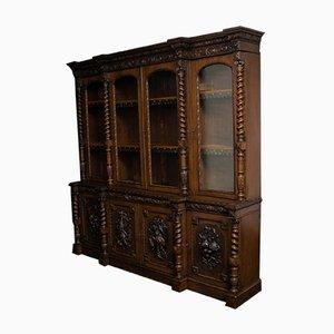 Antique Late Victorian Carved Oak Bookcase