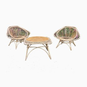 Mid-Century Rattan & Teak Chairs and Table Set