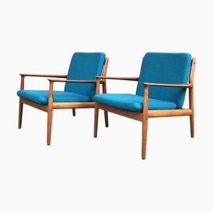 Vintage Danish Teak Easy Chairs by Grete Jalk, 1950s, Set of 2