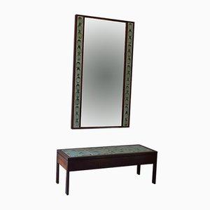 Tavolino da caffè in palissandro con specchio di Poul Jensen & L. Hjorth