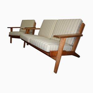 Juego de sofá de dos plazas GE-290 y poltrona de Hans J. Wegner para Getama, años 50