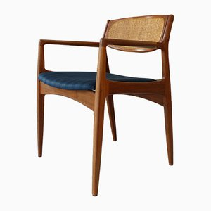 Danish Armchair in Teak & Cane, 1950s