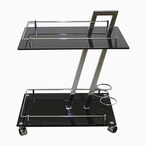 Chrome & Black Glass Drinks Trolley by Willy Rizzo, 1960s