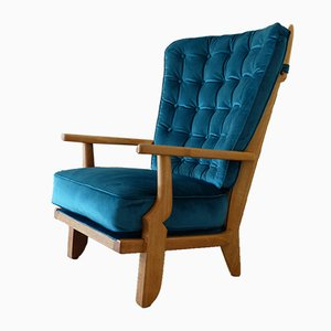 Grand Repos Armchair in Oak by Guillerme et Chambron