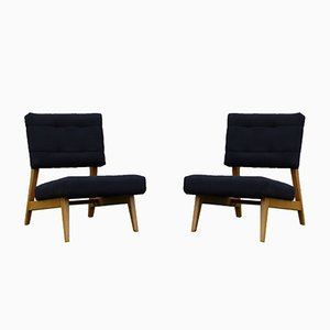 Vintage Beech & Wool Side Chairs, Set of 2