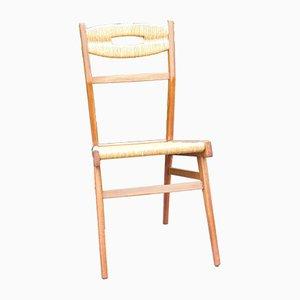 Mahogany & Straw Chair, 1950s
