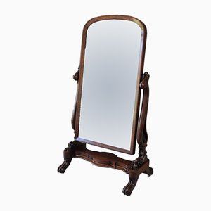 Large Antique Victorian Mahogany Cheval Mirror