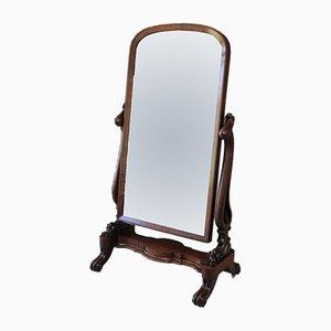 Large Antique Victorian Mahogany Cheval Mirror