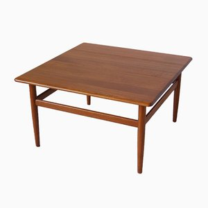 Tavolino da caffè quadrato in teak di Niels Bach per Randers Møbelfabrik, anni '60