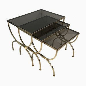 Brass & Smoked Glass Nesting Tables from Maison Jansen, 1940s
