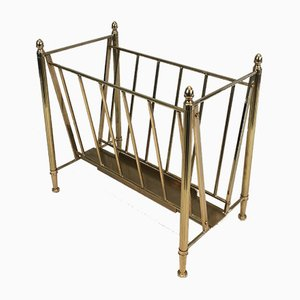 Neoclassical Brass Magazine Rack from Maison Jansen, 1940s