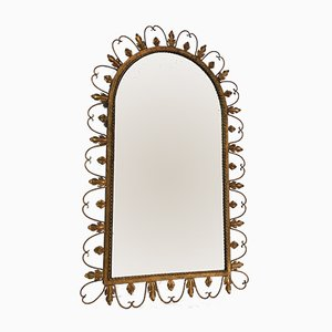 Large Gilt Wrought Iron Mirror with Leaves Decor, 1940s