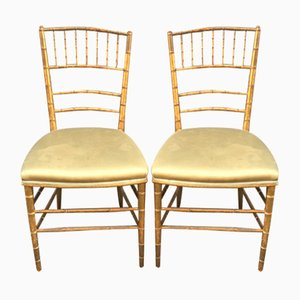 Antique Napoleon III Style Golden Side Chairs, Set of 2