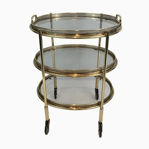 Neoclassical Style Oval Brass Trolley with 3 Removable Shelves, 1940s