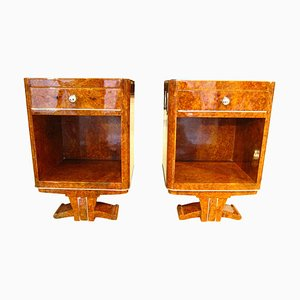 Amboyna Root Veneered Nightstands, 1930s, Set of 2
