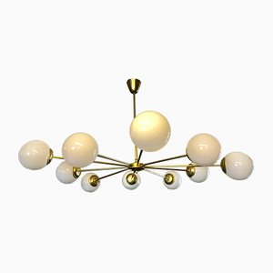 Vintage Italian 10-Arm Chandelier in Brass with Opaline Glass Shades