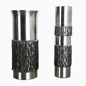 Moderne Deutsche Vintage Vasen aus Stahl, 1970er, 2er Set