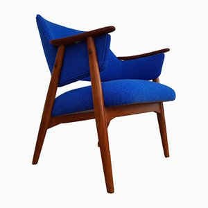 Scandinavian Modern Armchair in Blue Kvadrat Wool