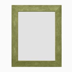 Specchio Brigitte in ecopelle Galuchat verde di Cupioli Luxury Living