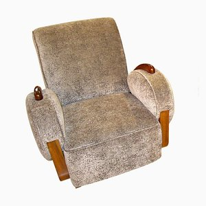 Art Deco French Grey Velvet Club Chair, 1920s