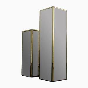 Pedestales o columnas con espejo, años 70. Juego de 2