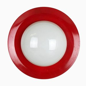 Extra Large Red Metal & Opaline Glass Wall Light, 1960s