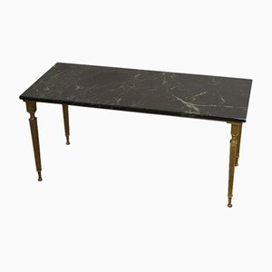 Large Vintage Brass & Green Marble Salon or Coffee Table, 1950s