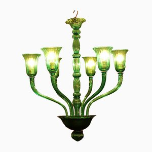 Mid-Century Italian Green Chandelier from Venini