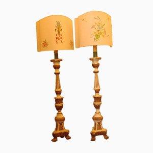 Lámparas de pie Torchere, siglo XVIII. Juego de 2