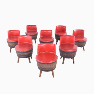 Vintage Barrel Bar Chairs, 1960s, Set of 8