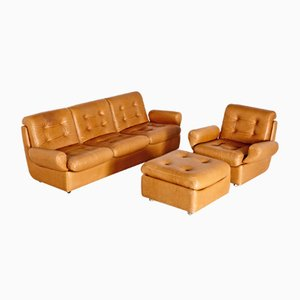 Vintage Brown Leather Living Room Set, 1970s