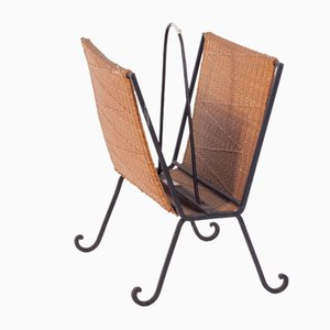 Danish Iron and Rattan Magazine Rack, 1940s