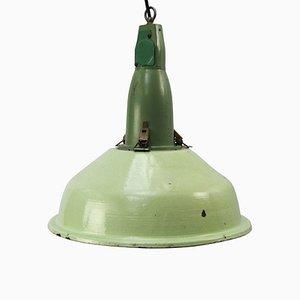 Grün emaillierte industrielle Vintage Hängelampe aus Aluguss