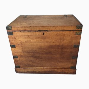 Antique English Oak Campaign Silver Chest