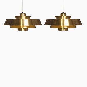 Vintage Brass Nova Pendant Lamps by Jo Hammerborg for Fog & Mørup, 1960s, Set of 2
