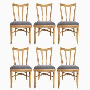 Italienische Stühle aus Kirschholz & grauem Stoffsitz von Guglielmo Ulrich, 1940er, 6er Set