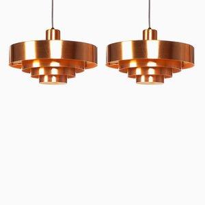 Lámparas colgantes Roulet vintage de cobre de Jo Hammerborg para Fog & Mørup, años 60. Juego de 2
