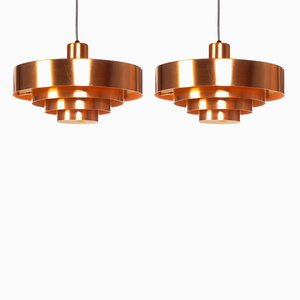 Vintage Copper Roulet Pendant Lamps by Jo Hammerborg for Fog & Mørup, 1960s, Set of 2