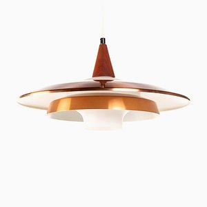 Vintage Danish Copper, Opaline Glass & Teak Pendant Lamp, 1960s