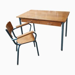 Vintage Desk & Chair Set, 1950s