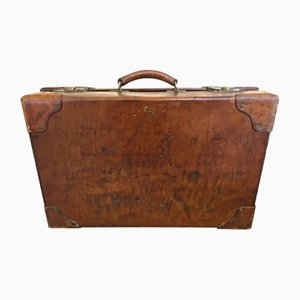 Vintage English Leather Suitcase, 1940s