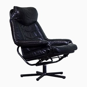 Mid-Century Norwegian Black Leather Swivel Reclining Chair from Skoghaug Industri
