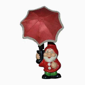 Vintage Gnome with Umbrella Lamp, 1960s