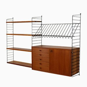Vintage Teak Veneered Modular Shelving System by Katja & Nisse Strinning for String, 1960s