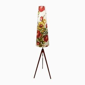 Lampadaire Tripode en Teck avec Abat-Jour Floral, 1950s
