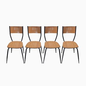 Vintage School Chairs, 1960s, Set of 4