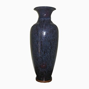 Tall Antique Chinese Vase with Striated Dark Blue Glaze