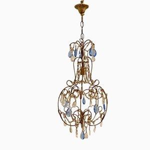 Lámpara de araña Macaroni vintage de cristal