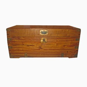 Small Antique Camphor Wood Campaign Trunk